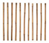 Bambu sopalarla üzerinde beyaz izole — Stok fotoğraf