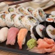 Sushi maki and nigiri served with ginger and wasabi — Stock Photo