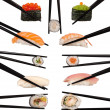 Collection of various types of sushi isolated on white — Stock Photo #22843078