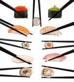 各种类型的寿司在白色孤立的集合 — 图库照片