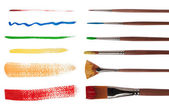 Paintbrushes with brush strokes isolated on white background — Stock Photo