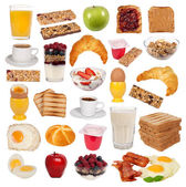 Collection of various types of breakfast isolated on white background — Stock Photo
