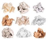 Verfrommeld papier ballen geïsoleerd op wit — Stockfoto