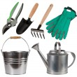 Gardening tools isolated on white background — Stock Photo