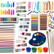 Brushes, paint, pencils and other artistic equipment isolated on white — Stock Photo #22868886