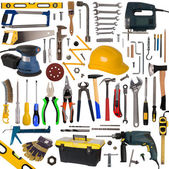 Tools collection isolated on white background — 图库照片