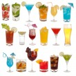 Stock Photo: Drinks, coctails and beer isolated on white background