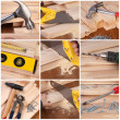 Woodwork and carpentry tools collage — Stock Photo