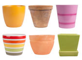 Flower pots isolated on white — Stock Photo