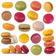 Colorful macaroons collection isolated on white - Stock Photo