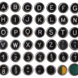 Old typewriter keys, alphabet and numbers, isolated on white  — Stock Photo