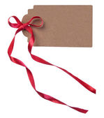 Card with red ribbon — Stock Photo