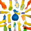 Hands in rubber gloves doing housework — Stock Photo