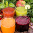 Vegetable juice, tomato, carrot, cucumber and beetroot — Stock Photo #29311991