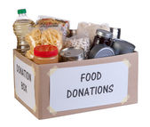 Food donations box isolated on white background — Stock Photo