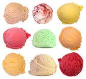 Scoops of ice cream isolated on white background — Stock Photo