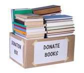 Books donation box — Stock Photo