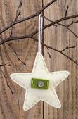 Star decoration hanging against wooden background — Zdjęcie stockowe