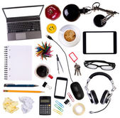 Top view of various objects on a desk — Stock Photo