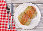 Traditional polish dish - golabki. Cabbage leaves stuffed with minced meat and rice — Stock Photo