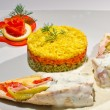 Chicken breast with sliced vegetables and three coloured rice — Photo