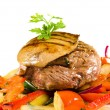 Meat and pork liver with sauteed vegetables — Stock Photo