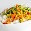 Rice and sautéed vegetables — Stock Photo