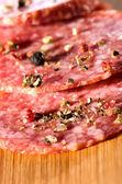 Salami slices — Stock Photo