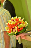 Bridal bouquet of roses and orchids — Stock Photo