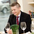 Young business mduring lunch time smiling — Stock Photo #15551711