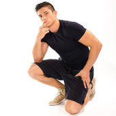 Muscular man thinking — Stock Photo