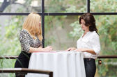 Two business women talking in a café — Stock Photo