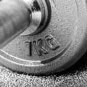 Grey dumbbell close-up — Stock Photo