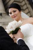 Happy in love newlyweds — Stock Photo