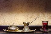 Turkish tea pot and cup — Stock Photo