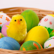 Colorful Easter eggs in a basket — Стоковое фото
