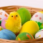 在篮子里的七彩复活节彩蛋。 — 图库照片