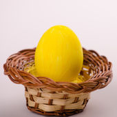 One yellow Easter egg — Stock Photo