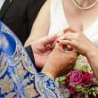 Bride receiving wedding ring — Stock Photo