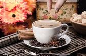 Anason ve tarçın ile kahve üzerinde kahverengi şeker — Stok fotoğraf