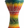 African drum painted green, red and yellow — Stock Photo