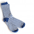 Two blue and white striped socks on white background — Stock Photo