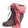 Woman heel boots, brown leather, and salmon colored foulard - Stock Photo