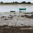 Small fishing boat moored in the sand, Saint Cado, France — Stock Photo #13826791
