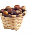 Basket of chestnuts, autumn fruits, isolated on white — Stock Photo