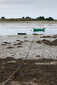 Small fishing boat moored in the sand, Saint Cado, France — Stock Photo