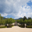 Ornamental fountain and gardens in the Royal Palace of La Granja de San Ildefonso - Stock Photo