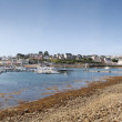 Overview Camaret Sur Mer village and harbor on a sunny day - Stock Photo