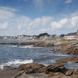 Panoramic of the beach and the town of Quiberon, Brittany - Stock Photo