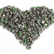 Metal nuts in the shape of heart isolated on white background - Stock Photo